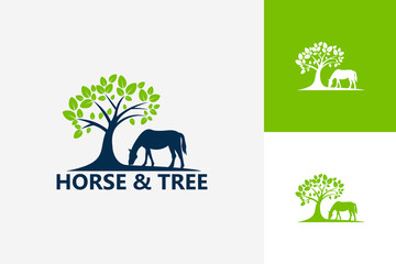 Horse And Tree Logo Template Design Vector, Emblem, Design Concept, Creative Symbol, Icon
