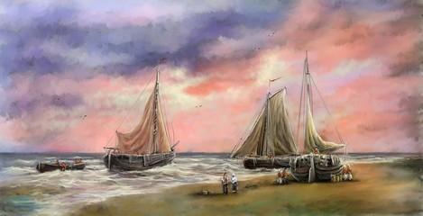Digital paintings sea landscape. Fisherman, boats, ships. Fine art.