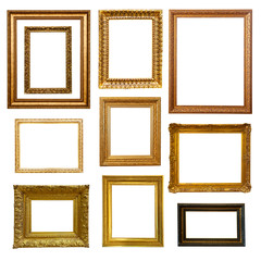 gold  frames. Isolated on white