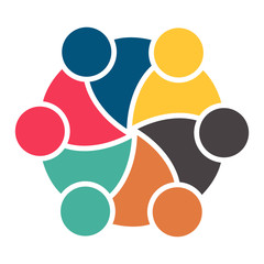 meeting teamwork room people logo.group of six persons in circle
