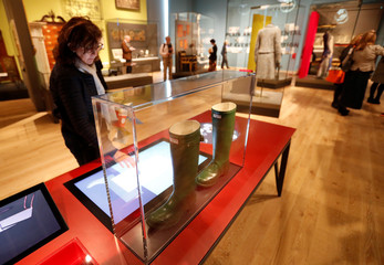 Exhibits are displayed in the Scottish Design Galleries inside the V & A musuem in Dundee, Scotland