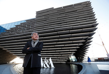 Architect Kengo Kuma stands outside the V & A musuem in Dundee, Scotland