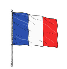 French flag drawing - vintage like colour illustration of flag of france. Banner on white background.