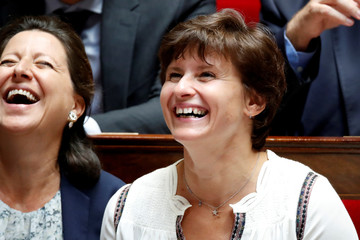 French Sports Minister Roxana Maracineanu and Health and Solidarity Minister Agnes Buzyn react during the questions to the government session at the National Assembly in Paris