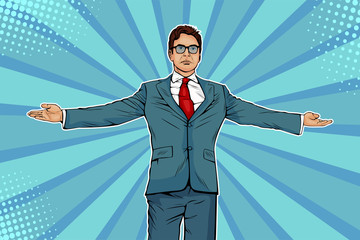 Businessman widely spread his arms as a winneer. Meeting other people. Domination and showing of success.  Vector illustration in pop art retro comic style Wall mural
