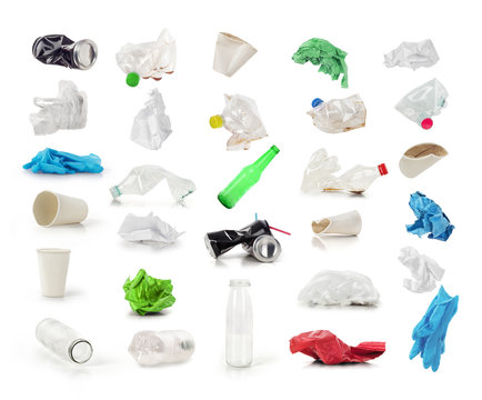 Collection of trash isolated on a white background