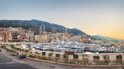 Evening on Monaco promenade with no people