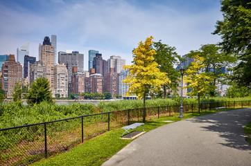 Footpath on the Roosevelt Island, Manhattan in background, New York City, USA.