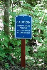 The blue and white caution and warning sign.
