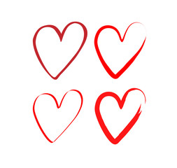 set of hearts with a brush, drawing by hand. Vector grunge style icons. Love symbol with brush painting