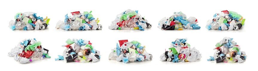 Collection of garbage dump isolated on a white background