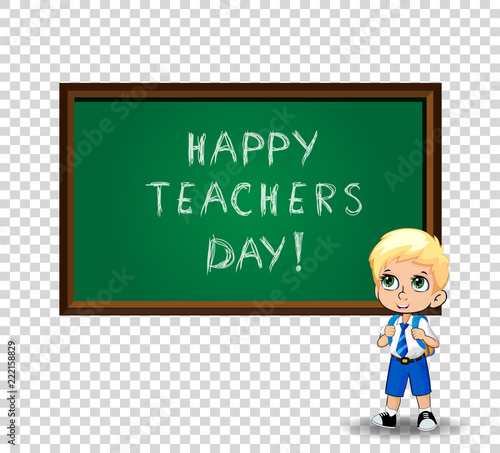 Happy teachers day greeting card clip art with cute cartoon happy teachers day greeting card clip art with cute cartoon schoolboy isolated m4hsunfo