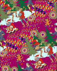 Santa and medieval jugglers. Seamless pattern. Vectos illustrationОсновные RGB