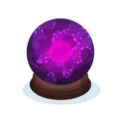 Purple glass sphere with bright pink glowing inside. Magic ball of fortune teller. Flat vector for advertising poster or flyer