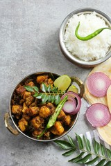 Kerala Pork Fry or Roast served with Parotta and rice,Top down view