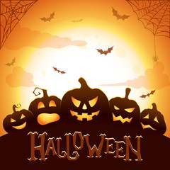 Halloween poster. Glowing Halloween pumpkins,flying bats, spider and web on abstract background with big moon