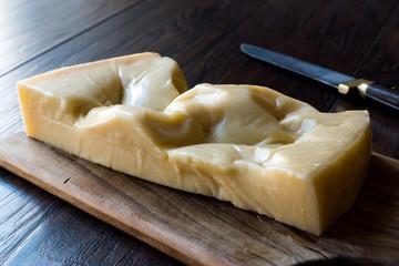 Turkish Traditional Gravyer / Gruyere Cheese From Kars on Wooden Surface