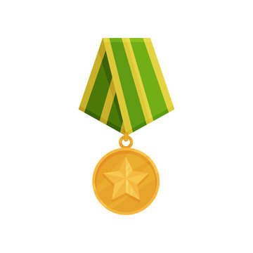 Military golden medal with star and green-yellow ribbon. Shiny army award for honor. Symbol of victory. Flat vector design