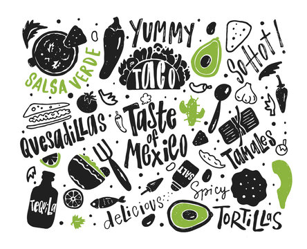 Taste of Mexico. Hand drawn illustration and lettering with different mexican food