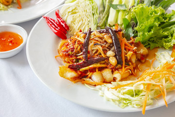 White fish fillet with vegetable stew, healthy food Thaifood.
