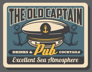 Old Captain Pub Retro Poster With Sailor Navy Cap