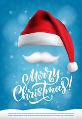 Christmas design Santa hat and mustache