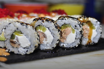Foto op Aluminium Sushi bar food, meal, plate, sushi, sandwich, salad, bread, gourmet, cheese, dinner, snack, fresh, salmon, white, appetizer, vegetable, green, meat, healthy, seafood, tomato, lunch, cucumber, fish, cuisine