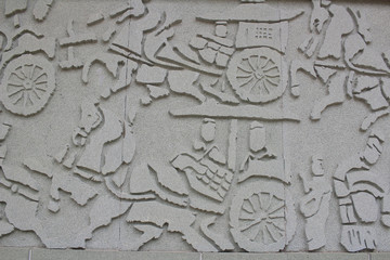 Han carvings in the walls at chinese temple