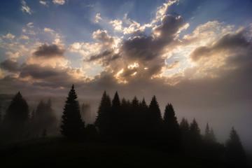 Foggy Dawn in a Mountain Village in Ukrainian Carpathians