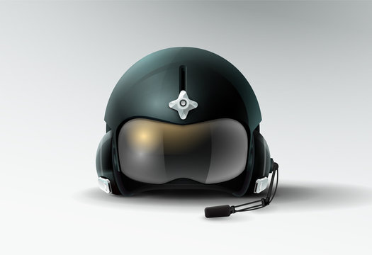 pilot jet helmet aviator vector illustration