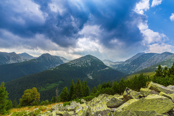 Autumn scenery in the Carpathian Mountains, with beautiful colors and warm light