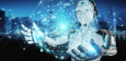 White woman humanoid using digital global network 3D rendering