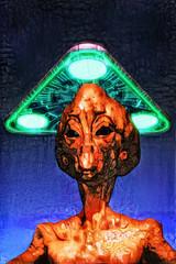 Wall Mural - ufo alien painted