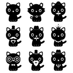 Cat in a tuxedo. A cartoon cat is a gentleman. Symbol.