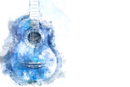 Abstract blue Acoustic Guitar in the foreground Close up on Watercolor painting background.