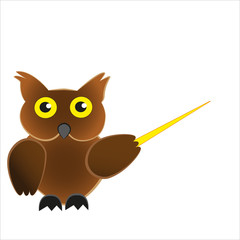 Wise and smart bird owl holding a pointer.