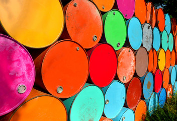Colorful of used gas tanks.