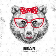 Door stickers Hand drawn Sketch of animals Retro Hipster animal bear. Hand drawing Muzzle of animal bear. Girl of 60s