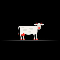 Cow, Livestock. Economic Geography 3d Vector Icon, Map Navigation Element Isolated on Black. Vector Background for Banner, Certificate, Poster Design, Visiting Card.