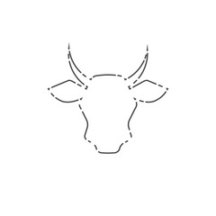 Cow Head, Livestock Line Icon. Vector Line Art Cow Face, Farm, Meat or Milk Symbol. Cow Mascot, Monochrome Illustration.