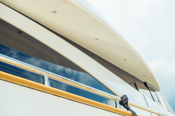 Luxury yachts in the port. Elements of construction. Details