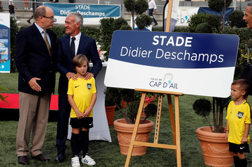 France soccer team coach Didier Deschamps and Monaco's Prince Albert attend a ceremony at the municipal stadium of Cap d'Ail which will take the name of Deschamps