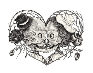 Art Surreal Couple Kiss Skulls Tattoo. Hand pencil drawing on paper.