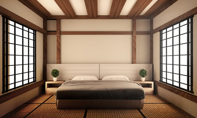 Bed room original - Japanese style interior design. 3d rendering