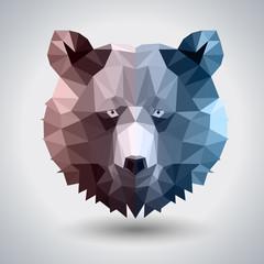 Abstract polygonal tirangle animal bear. Hipster animal illustration.