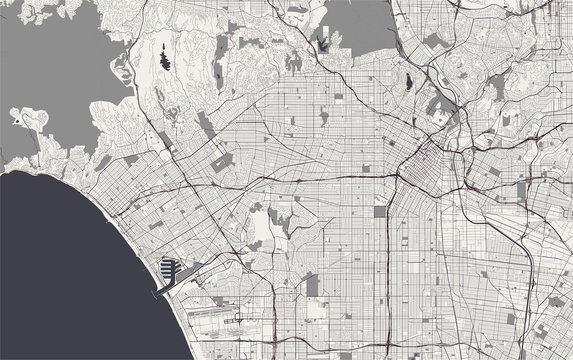 map of the city of Los Angeles, USA