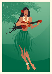 Beautiful and smiling Hawaiian girl wearing skirt of leaves playing ukulele and palm tree on green background