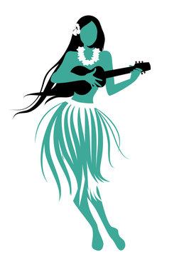 Silhouette of Hawaiian girl wearing skirt of leaves playing ukulele isolated on white background.