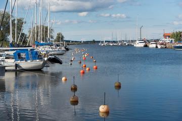 boats in the swedish port of Mariestad