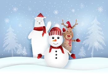Snowman,Polar bear and deer with snowy. Christmas holiday season illustration background